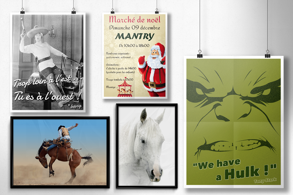 Affiches, posters, photos.